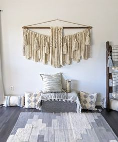 """60"""" x 34"""" Extra large macramé wall hanging/large woven wall hanging/Yarn wall hanging/yarn tapestry/large wall art/macramé wall hanging Yarn Wall Hanging, Large Macrame Wall Hanging, Tapestry Wall Hanging, Jute Twine, Acrylic Wool, Large Wall Art, Twists, Wooden Beads, Priority Mail"""