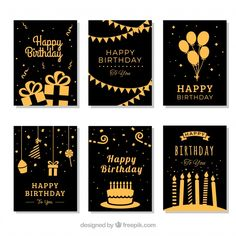 Set of six golden birthday cards Free Ve. Pink Happy Birthday, First Birthday Cards, Birthday Letters, Colorful Birthday, Golden Birthday, Happy Birthday Greetings, Birthday Balloons, Birthday Wishes, Vintage Birthday