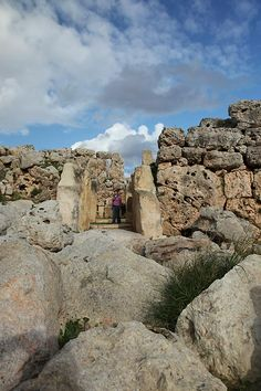 Ggantija Temples. Neolithic, megalithic temple complex on the Mediterranean island of Gozo, Malta.