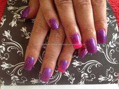 Acrylic nails with purple gelish gel polish ,pink and purple on ring fingers