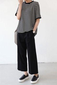 striped shirt, wide crop pants