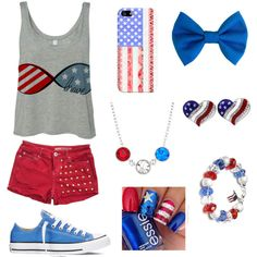 Fourth of July by vidhip348 on Polyvore featuring polyvore fashion style Wrangler Converse Casetify