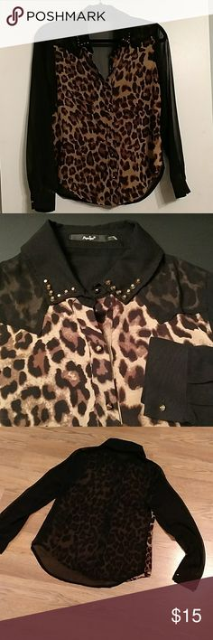 """Papaya animal blouse Button-up polyester blouse trimmed in gold studs. Animal front print, and sheer black sleeves and back. Excellent condition. Appx Measurements 17.5"""" across armpits and 26"""" shoulder to rounded hem. Papaya Tops Blouses"""