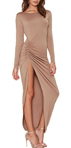 Smile YKK Light Tan Backless Sleeveless Scoop Neck Side Slit Casual Maxi Dress S. Material: Cotton Blending. Features fitted body line, soft fabric and relaxed fit makes this dress perfectly. Asia size: S: Bust:84cm, Waist:68cm,Length:134cm;M: Bust:88cm, Waist:72cm,Length:135cm; L: Bust:102cm, Waist:76cm,Length:136cm;XL: Bust:106cm, Waist:80cm,Length:137cm. Occasion: party, club, evening, prom,cocktail,gown. Stylish, elegant, lovely and unique design will make you more attractive and…