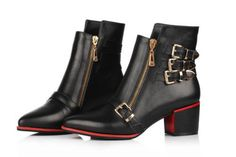 Womens Leather Chic Buckle Strap Gothic Zip Pointy Toe Low Heel Ankle Boots US 7 #other #FashionAnkle