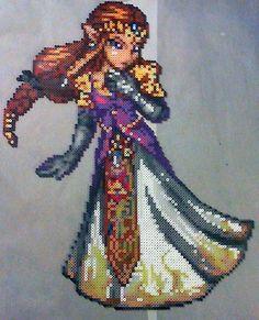 Princess Zelda perler bead sprite by phantasm818 (Original sprite by AbyssWolf)