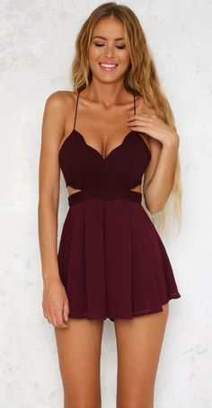 summer outfits Burgundy Cut-out Dress