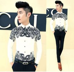 New Mens Cool Paisley Patterned Slim Fit Cozy Casual Shirt Top Black White M-XXL