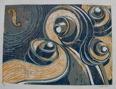 musical moonlight original handpulled woodcut print by mbriana, $40.00