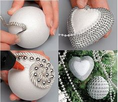 Ideas Christmas Tree Decorations Diy Ornaments Beads For 2019 Christmas Projects, Holiday Crafts, Christmas Crafts, Christmas Christmas, Christmas Spheres, Christmas Ideas, Beaded Christmas Ornaments, Christmas Tree Decorations, Diy Ornaments