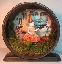 Fairy Witch HALLOWEEN SteamPunk Clock Shadow Box Mixed Media Altered aRt Collage