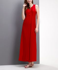 Another great find on #zulily! Red Pleated Button-Front Maxi Dress by Reborn Collection #zulilyfinds