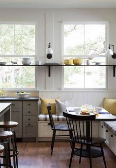 form meets function in the tiny kitchen nook. Kitchen Benches, Kitchen Nook, Kitchen Shelves, Kitchen Storage, Kitchen Cabinets, Kitchen Ideas, Kitchen Windows, Kitchen Seating, Kitchen Stuff