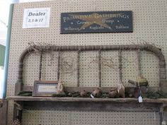 Primitive Shelf...made from an old wooden headboard & a piece of reclaimed wood.