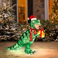 Our Pre-Lit Animated Dinosaur Christmas Yard Decorations ...