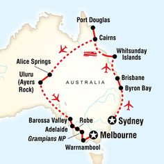 Map of the route for Australia in Style (G Adventures) Australia Travel Guide, Australia Honeymoon, Australia Trip, Lake Hillier, Australian Road Trip, Travel Route, Travel Oz, Pink Lake, Working Holidays