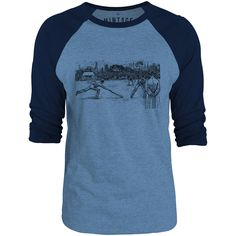 Mintage Old Cricket Match 3/4-Sleeve Raglan Baseball T-Shirt (Cobalt Marle / Navy)