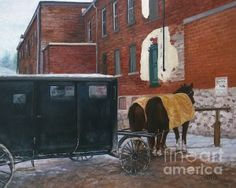 """""""Buggy Parking Only"""" 16x20 oil on canvas Amish horse and buggy, Wroxeter, Huron County, Ontario"""