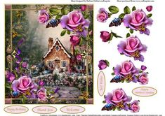 Country Flower Cottage Topper Decoupage on Craftsuprint - Add To Basket!