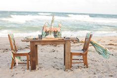 Set up reception tables on the beach.