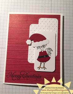 On Time for Christmas Challenge- February 2017! My friend Maria shared these with me! Cool ideas for Christmas cards. Hey chick. Stampin'Up!