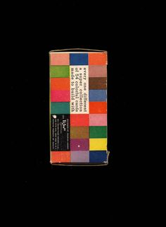 One side of the original packaging, designed by The Eames Office, for the Eames House of Cards