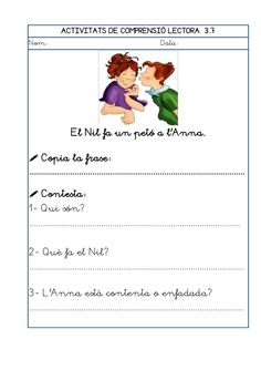 Dori dos 1112_mt005_r1_comprensio_lectora_3 Conte, Teaching, Valencia, School, Texts, Frases, Reading Comprehension, Special Education, 1st Grades