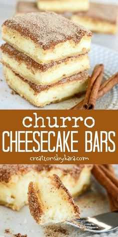 The crunchy cinnamon of churros combined with the creamy tanginess of cheesecake. - The crunchy cinnamon of churros combined with the creamy tanginess of cheesecake. The crunchy cinnamon of churros combined with the creamy tanginess. Smores Dessert, Dessert Dips, Mexican Dessert Easy, Easy Dessert Bars, Dessert Food, Breakfast Dessert, Easy Simple Dessert, Healthy Mexican Dessert, Dessert Ideas For Party