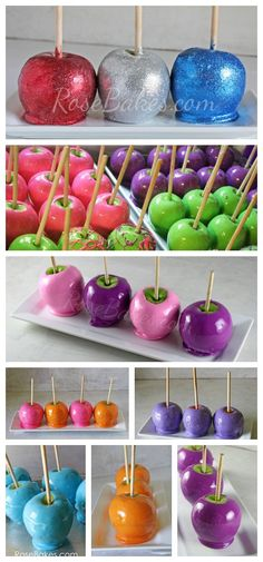 Make Candy Apples ANY Color - Rose Bakes. Looks artificial but good!