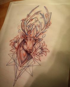 """""""Stag and flowers and stuff for Friday."""""""