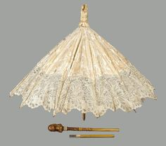 Parasol in three parts French ca 1900  Check all the amazing detail, many more at link