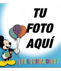 Tarjeta de cumpleaños con marco de fotos rojo, globos y pasteles para - Fotoefectos Mickey Mouse, Happy Birthday Cards, Birthday Balloons, Tart, Pastries, Baby Mouse