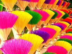 Colored Incense - Colorful Rainbow Colors Travel Photo Market Asia