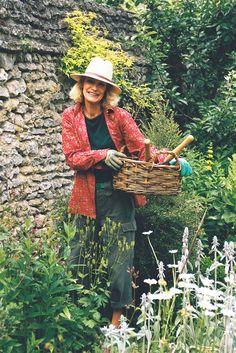 Loulou de la Falaise gardening in Boury-en-Vexin, Ile-de-France, wearing a favorite shirt from L'Habilleur boutique, 2004