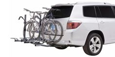$430 BUY NOW If your current vehicle already has a hitch on it, and you've got a family's worth of bikes to haul, Sportrack's platform-style unit is the way to go. Its sturdy design will ensure that all four bikes on board will remain safe and secure throughout your journey.