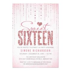 "Pink glitter Sweet Sixteen invitations featuring sparkly rain drops, the words ""sweet sixteen"" and a glitter heart / letters, on a soft pink background. Note: digitally created design; no real glitter included // sweet 16 party invitations // sweet 16 birthday invitations at http://www.zazzle.com/sparkly_glitter_sweet_sixteen_party_invitation-161636029507351193?rf=238395237176455059"