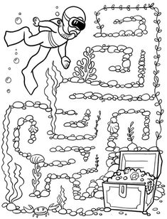 Mazes For Kids, Worksheets For Kids, Crafts For Kids, Games For Toddlers, Preschool Activities, Maze Worksheet, Labyrinth Maze, Sea Crafts, Sea Theme