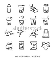 Find Bubble Tea Icon Set Included Icons stock images in HD and millions of other royalty-free stock photos, illustrations and vectors in the Shutterstock collection. Bubble Tea Shop, Bubble Milk Tea, Bubble Tea Menu, Milk Shakes, Tea Design, Logo Design, Design Web, Cafe Design, Vector Design