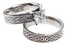 Sam and I both have Scottish/Irish ancestry, and we love Celtic symbols. This is what I was looking at for my wedding ring. I think it is solid but dainty at once.