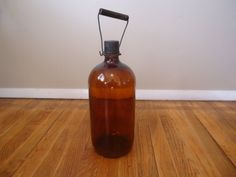 Bottles 4 Large Brown Glass Bottles Vintage Antique Urban Rustic