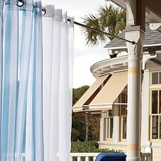 """Grommet Top Voile Panel - 54"""" x 84"""" - Green Stripe - Improvements by Improvements. $29.99. Add privacy to a balcony, pergola, gazebo or porch with these airy outdoor curtains. These outdoor curtains are weather-resistant and durable, so you can leave them up all season. Grommet Top Voile Panel comes in a variety of breezy colors and stripes to complement your outdoor furnishings. These outdoor curtains are weather-resistant and durable, so you can leave them up a..."""