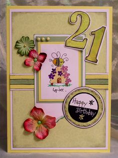 102. Birthday card. #handmade #birthday #bees
