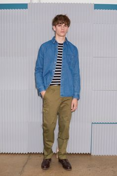 A.P.C. embraces normcore fashions for its spring-summer 2016 collection, featuring ideal pieces such as the striped t-shirt and denim shirt.