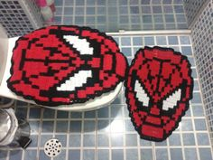 jogo de banheiro de croche homem aranha