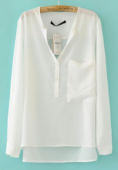 White Collarless Dipped Hem Long Sleeve Blouse with Front Pocket EUR€21.37