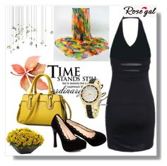 """Black dress by Rosegal - 30"" by samra-dzabija ❤ liked on Polyvore featuring Nearly Natural"