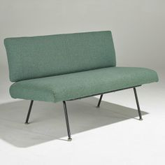 Florence Knoll; Enameled Steel Settee for Knoll Associates, 1960s.