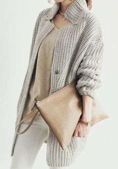 We adore sweaters in a neutral palette, like this off-grey one. it matches with everything and looks so polished.