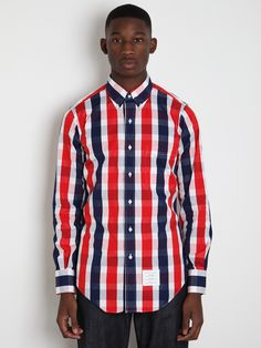 Thom Browne Men's Double Check Shirt in red / white / navy blue