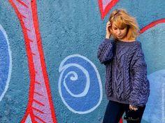 Купить Свитер Микс в джинсовом цвете - свитер вязаный, вязаный свитер, вязанный свитер